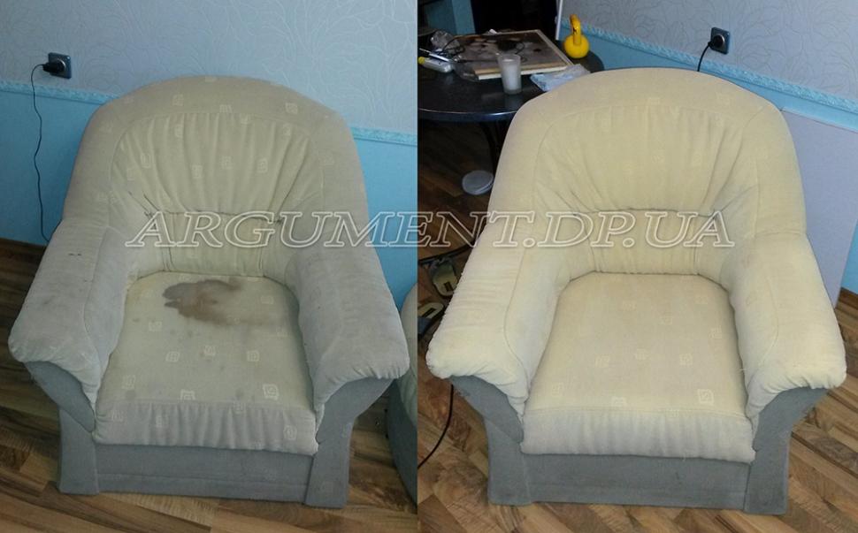 Чистка мягкой мебели, кресло до и после